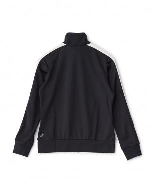 BLACK  スタンドカラー配色トレーニングジャケット見る