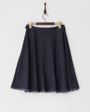 ネイビーカラーネップツイードスカート見る