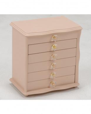 ピンク クリスタル型取っ手 ジュエリーボックス 26×16.5×28cm見る