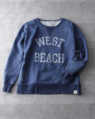 ライトインディゴ  『WEST BEACH』プリント入りインディゴ裏毛スウェット見る