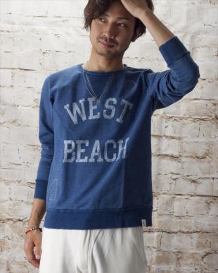ダークインディゴ  『WEST BEACH』プリント入りインディゴ裏毛スウェット見る