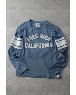 ライトインディゴ  『FREE SIGN CALIFORNIA』アップリケロンTee見る