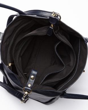 ネイビー  バッグインバッグ付きレザーハンドバッグ見る