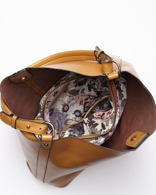 グレー  総柄バッグインバッグ付きレザーショルダーバッグ見る