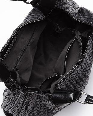 ブラック  編み込みデザインレザー調トートバッグ見る