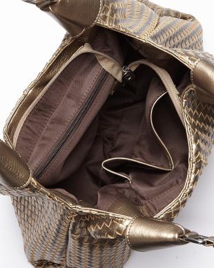 ゴールド  編み込みデザインレザー調トートバッグ見る