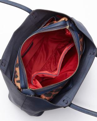 ネイビー  レオパード柄バッグインバッグ付きレザートートバッグ見る