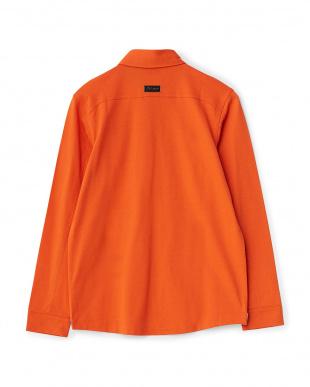 オレンジ 同色刺繍 ロングスリーブBD長袖見る