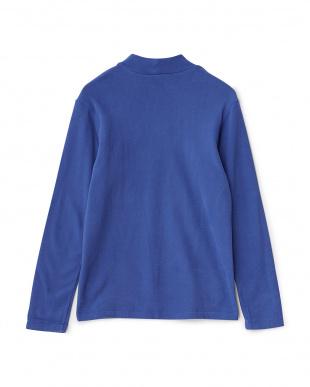 ブルー  胸ワッペン長袖ハイネックシャツ見る