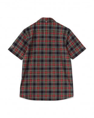ブラック  タータンチェック半袖シャツ見る