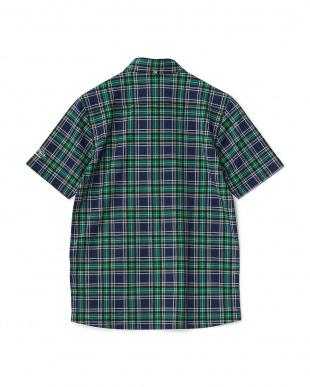 ネイビー  タータンチェック半袖シャツ見る