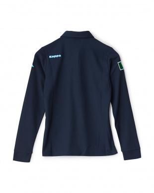 ネイビー  「ITALIA」ロゴ ロングスリーブシャツ見る