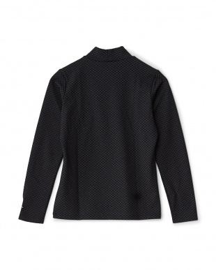 ブラック  ストレッチジャガード ロングスリーブハイネックシャツ見る