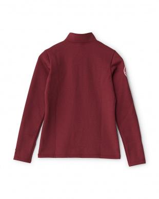 レッド 杢調 裏起毛ロングスリーブシャツ見る
