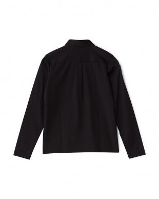 ブラック  ダブルポケット長袖シャツ見る