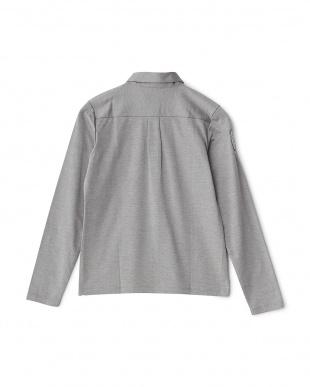 グレー  ダブルポケット長袖シャツ見る