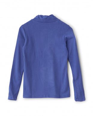 ブルー  起毛ニット ハイネック長袖シャツ見る