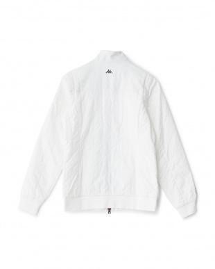 ホワイト  袖着脱式 千鳥柄キルトステッチ中綿ブルゾン見る
