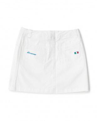 ホワイト  マイクロヘリンボーン ストレッチスカート見る