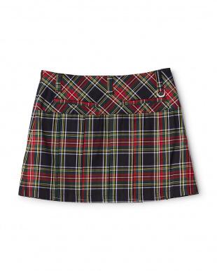 ブラック系  タータンチェックプリーツスカート見る
