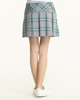 グレー系  タータンチェックプリーツスカート見る