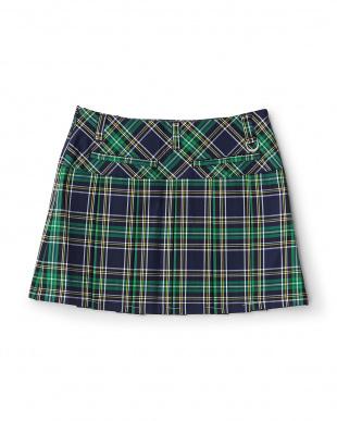 ネイビー系  タータンチェックプリーツスカート見る