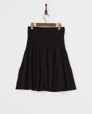 ブラック  リブニットスカート見る