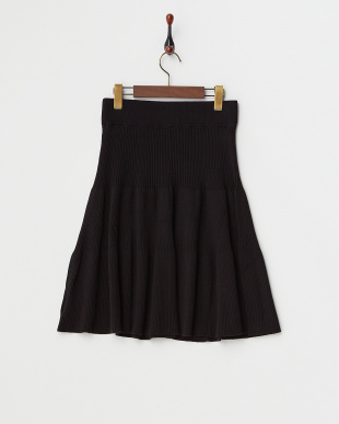 ベージュ  リブニットスカート見る