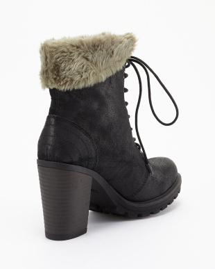 BLACK  レースアップANKLE BOOT見る