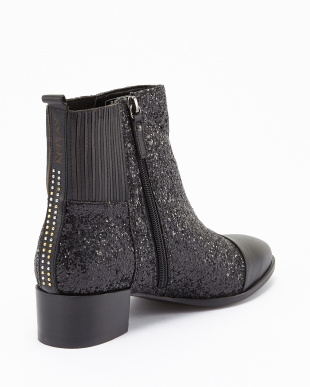 BLACK SILVER グリッターANKLE BOOT見る