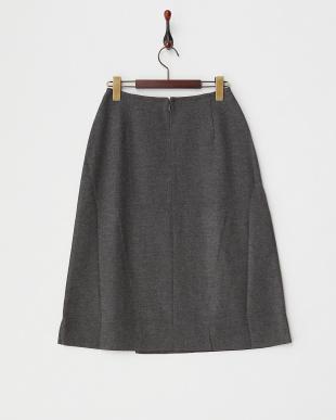 グレー  ラップ風Aラインウールスカート見る