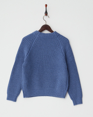BLUE  ウール混ワッフル柄編みニットプルオーバー見る