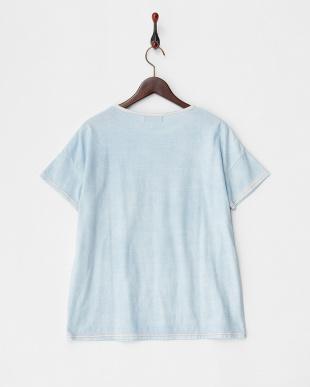 ブルー  トロピカルクルーネックTシャツ見る