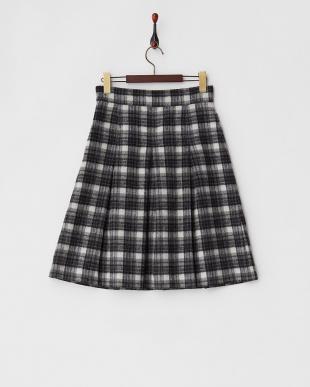 ブラック×ホワイト シャギーチェックフレアスカート見る
