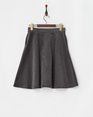 グレー  コーデュロイフレアスカート見る