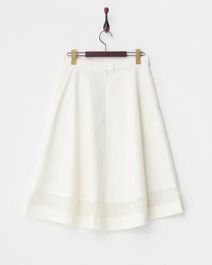 ホワイト レース切り替えスカート見る