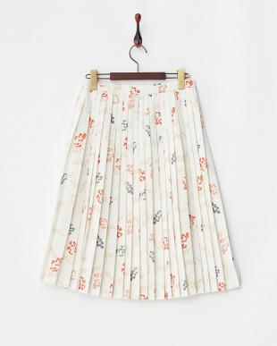 ホワイト  レトロ花柄プリーツスカート見る