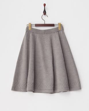 グレー ニットフレアスカート見る