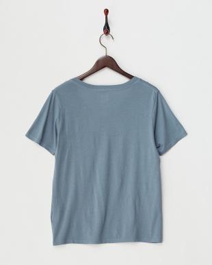 グリーン スピーマコットン混 VネックTシャツ見る