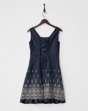 ネイビー  裾刺繍入りバックレースアップドレス見る