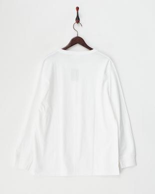ホワイト ヘンリーネック 長袖Tシャツ見る