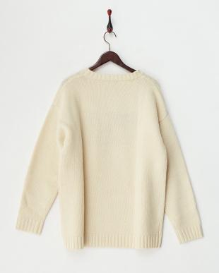 ホワイト  フラッグRクルーセーター見る