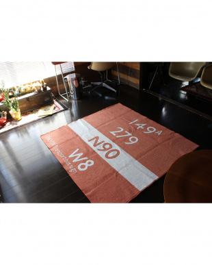 オレンジ  キッズバスステーション ラグ 185×185見る
