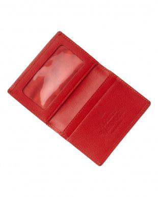 レッド  OPIO SAFFIANO 二つ折りカードケース見る