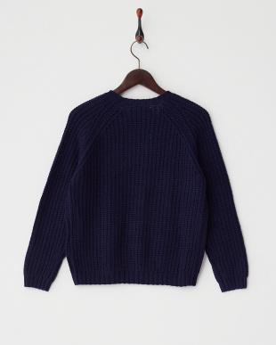 ネイビー  アイレットデザインセーター見る