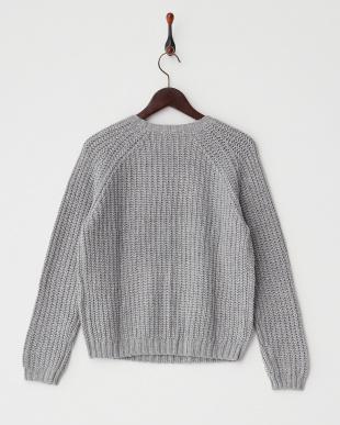 ヘザーグレー  アイレットデザインセーター見る