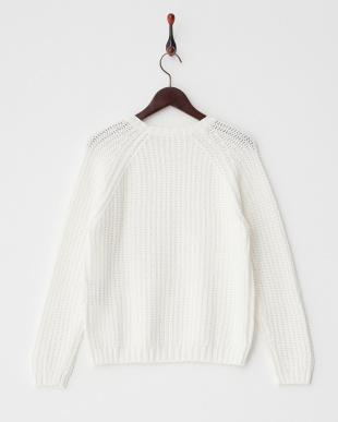 オフホワイト  アイレットデザインセーター見る