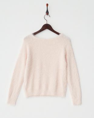 パウダーピンク  フェザーヤーンセーター見る