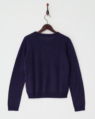 ネイビー シャギーチェックセーター見る