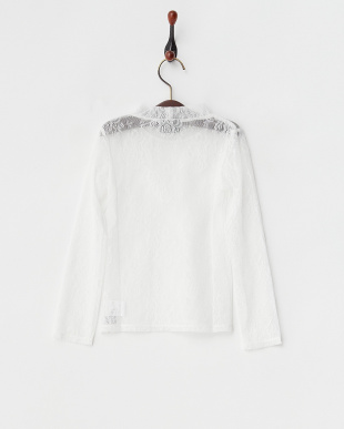 ホワイト 長袖レースTシャツ見る